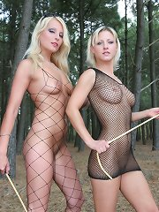 Two mistresses punished malesub outdoor