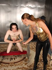 Mistress Mona catches her bondman Kade praying at her altar to be let out of chastity.