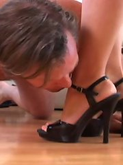 A daughter tramples a friend ticks tiring heels, which he worships, and present barefoot, when minx pays unique importance to trampling his cock