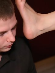 Foot licking with brunette mistress