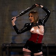 Hung submissive strumpet whipped and made lick ass-hole