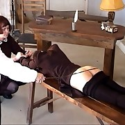 Brutal bottom caning in college