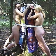 Two girls gets outdoor caned