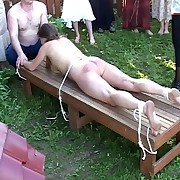 Outdoor spanking and birching in russian country