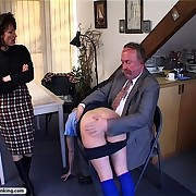 Young brat is spanked by her parents