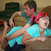 Teen bitch was spanked by daddy for dying her hair red