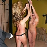 Two taking blondes punished in cage