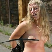 Brutal outdoor whipping