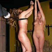 Three pretty blondes whipped on touching dungeon