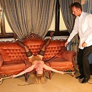 Slave woman got whipped on the sofa