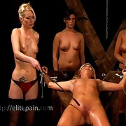 Three babes was punished hard
