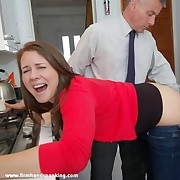 Super cute Samantha Woodley gets a bare spanking at say no to workplace - ouch