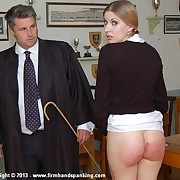 12 strokes of the cane for pretty senior Belinda Lawson stripes her bottom