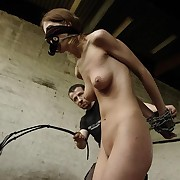 Blindfolded with the addition of heavy chained Amy gets distressful lashes.