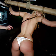 Crucified Nicole was harsh breast, pussy with an increment of aggravation whipped.