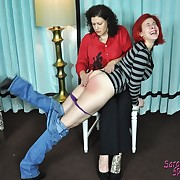 Lustful puss has hard spanks on her nates