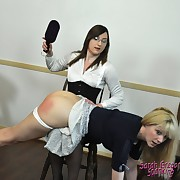 Sweet wench receives her hindquarters spanked
