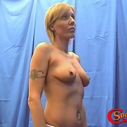 Tattooed blond mature enjoying hot and tortured flogging
