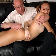 Stunning gal is brutally spanked over an old guy's knee