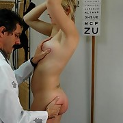 Pretty golden-haired miss getting a full medical examination