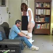 Doctor was OTK spanked young nude babe