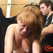 Nasty maiden has her booty flagellated