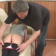 Lecherous puss gets stern spanks on her derriere