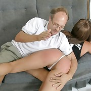 Hot young chick lets a mature man spank her tight exasperation