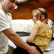 Lazy teen stripping deficient keep around gets punished with painful pest spanking from a misbehaving guy