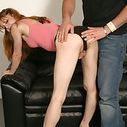 Leggy blonde strips naked in the sky front of her man together with diddled her clit while the guy slapped her ass peppery