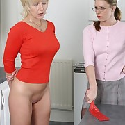 Adult spanked on the kitchen