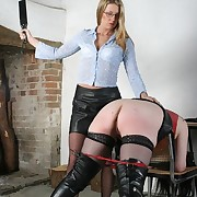 Mature secretary spanked coupled with caned
