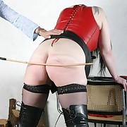 Grown-up secretary spanked and caned