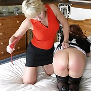 Bad house girl spanked on the bed