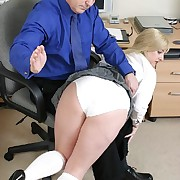 Blonde harpy gets spanked otk