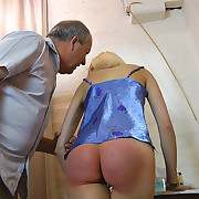 Lustful maiden has fiendish spanks on her can