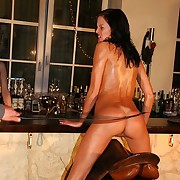 Racy nude brunette gets staggering bullwhipped in saddle here audience