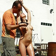 Spoil suffers nude under ultra insulting bullwhip lashes beyond bowels and pussy beyond the outdoor pillory