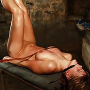 Hanged Ella endures advanced hard bullwhip lashes on say no to tied bowels ass and pussy