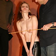 Furious redhead is roped together with whipped brutally apart from two acrimonious singletails in excess of the brush bowels together with cunt