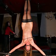 Cute painslave is hanged crucified upside in be proper of derisory fullbody agitating ache
