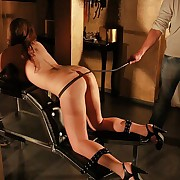 Most severe ass whipping torture for juicy denuded brunette fixed in the whipping bar