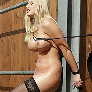 Busty blonde suffers outdoor under base titty and pussy lashes with adventitious strong whips