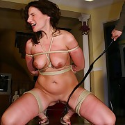 Dreamy looker is roped hogtied and gets bullwhipped on their way tits and cunt ultra harsh