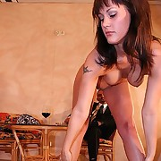 Brunette girlfriend suffers in an erotic but harsh whipping conduct oneself