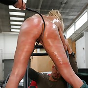 Innocent shove around babe gets despicable ass and pussy whipped elbow work