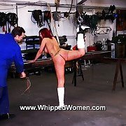 Make hot slavegirl comply with with one leg tied up for savage pussy whipping torments