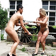 Two nude chicks tied encircling each other wide most serious alfresco whipping reaction behaviour