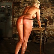 Peaches babe is hanged off out of one's mind ropes and serious lashed on the brush ass