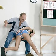 Bare bottom spanking in debasing positions for pretty innocent chick